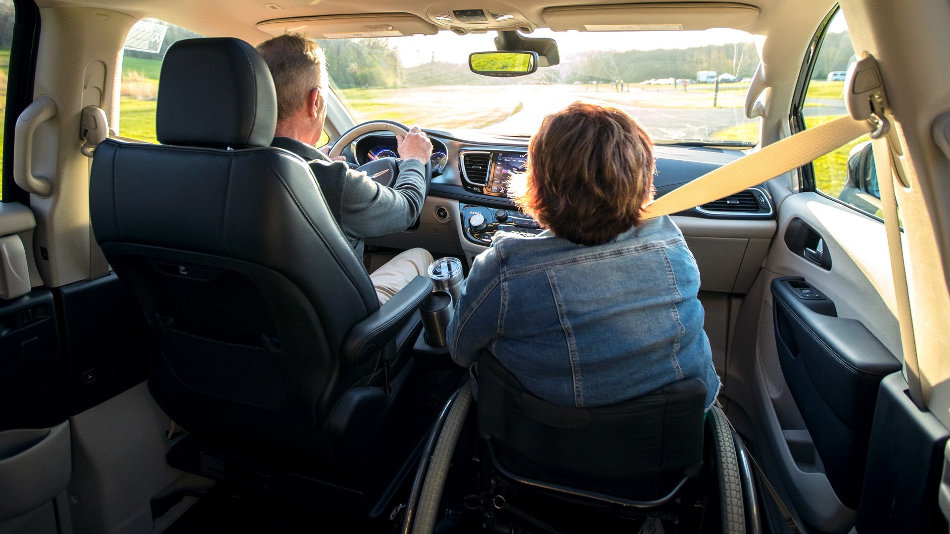 inside a wheelchair mini van looking from the backseat forward