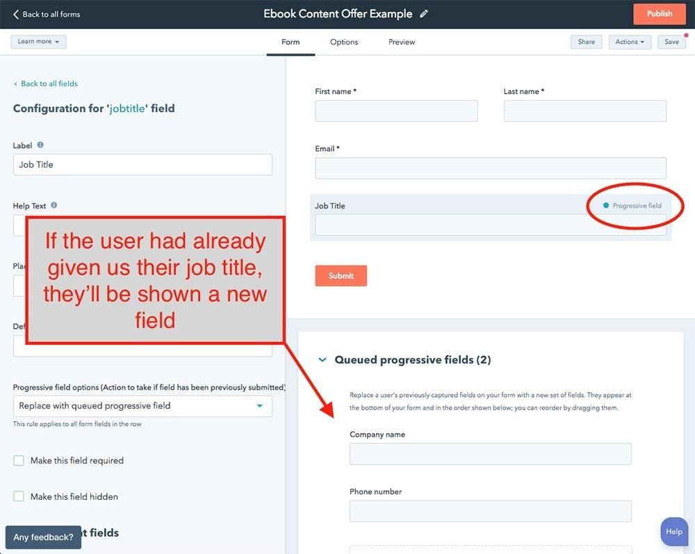 Example of Progressive Profiling in HubSpot