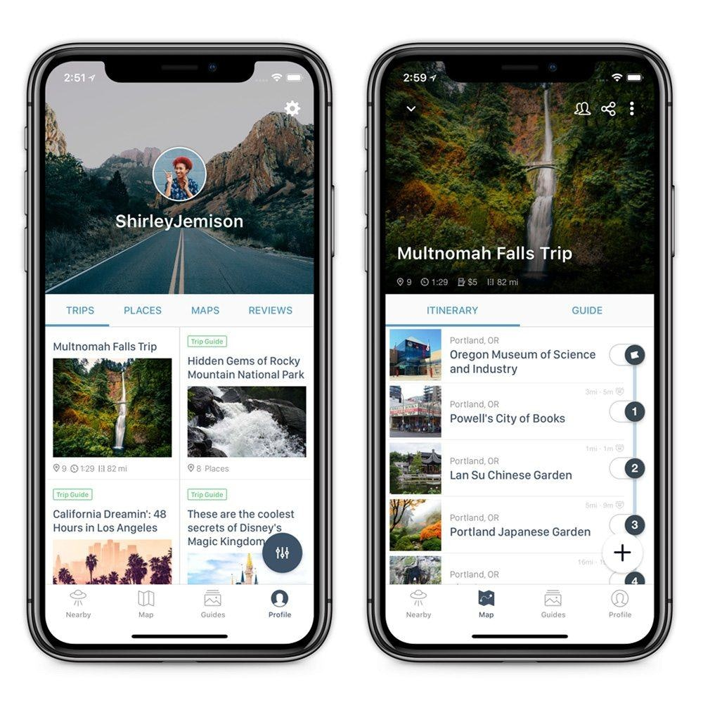 Roadtrippers app on iPhone