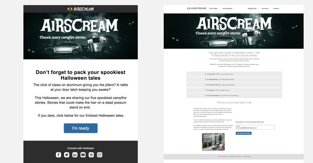 airscream email and landing page