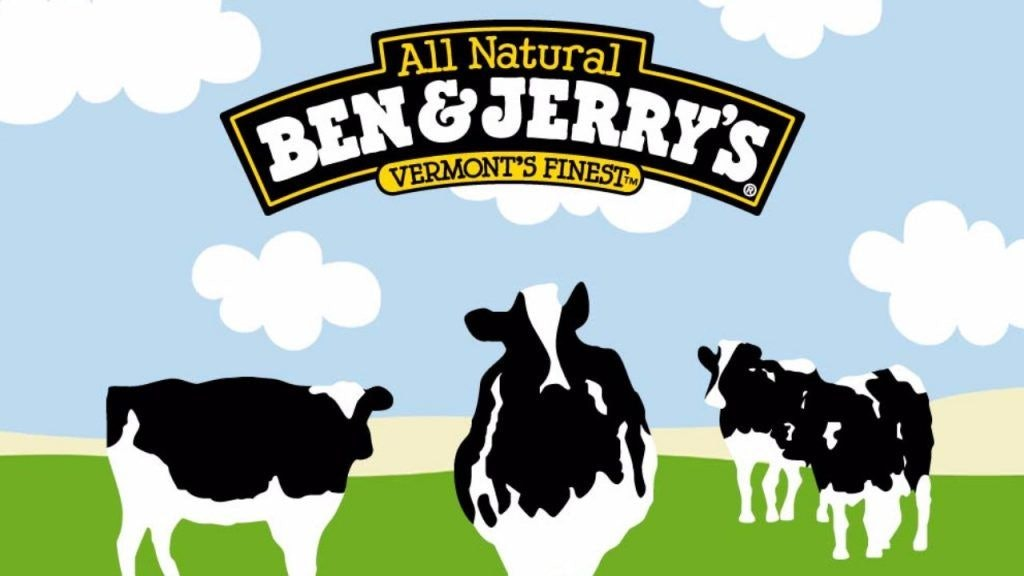 Ben and Jerrys Logo with Three Cows in Green Pasture